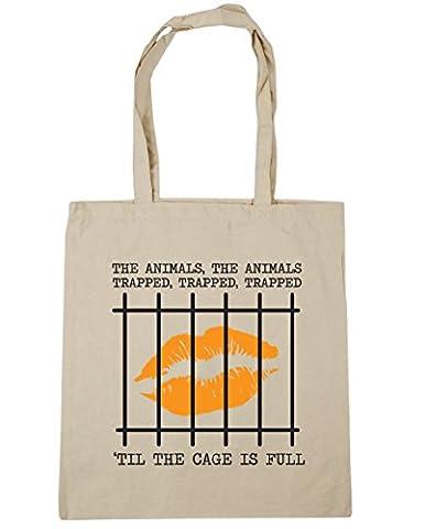 hippowarehouse les animaux, les animaux Coincée, Coincés, Coincés 'til la cage est plein Sac à shopping/Sac de plage 42cm x38cm, 10litres - beige - Taille unique