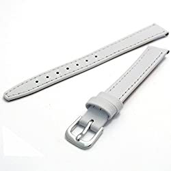 Condor Calf Leather Ladies Watch Strap White 12mm Chrome (Silver Colour) Buckle and Free Spring Bars 124R.09