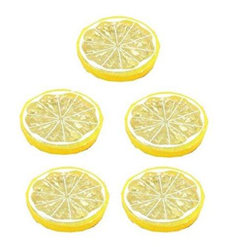Da.Wa 5 Stück Künstliche Zitronenscheiben Deko Gefälschte Früchte