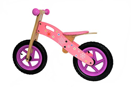 deAO Wooden Balance Bike Without Pedals Multiple Colours and Designs *snow pink*