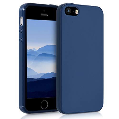kwmobile Apple iPhone SE / 5 / 5S Cover - Custodia per Apple iPhone SE / 5 / 5S in Silicone TPU - Backcover Protezione Blu Marino