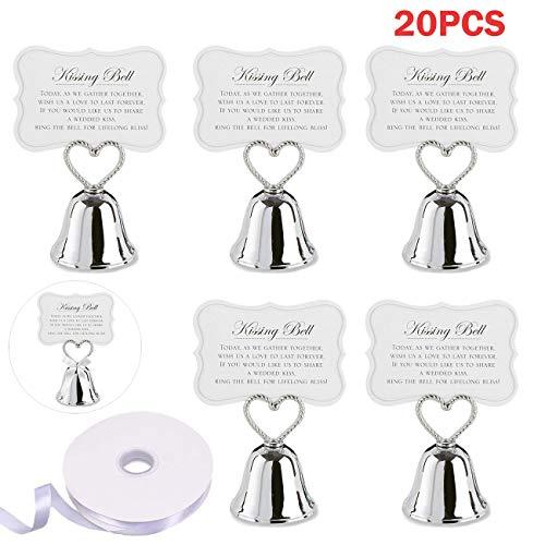 Tomkity kit 20 segnaposto campanelle cuore campanella tirabaci +20 etichetta carta +22m nastro raso bomboniera matrimonio albero di natale halloween capodanno