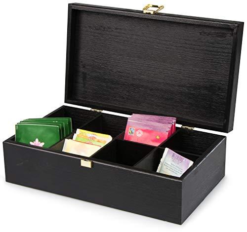 LAUBLUST Große Teekiste 8 Fächer - ca. 28 x 16 x 9 cm, Schwarz, FSC® - Holz-Teebox mit Metall-Verschluss | Aufbewahrungskiste | Teebeutel-Spender | Küchenbox | Geschenkkiste für Teeliebhaber