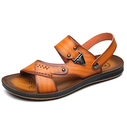 Men's Metal Pu Leather Slip On Gladiator Casual Sandals yellow