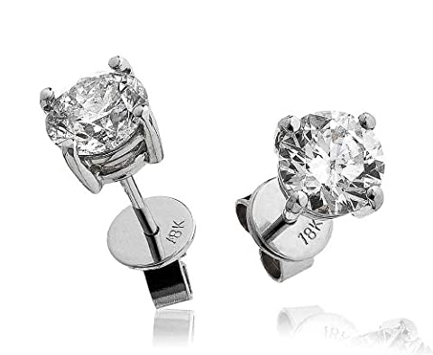 0.20CT Certified G/VS2 Round Brilliant Cut Diamond Stud Earrings in 18K White Gold