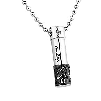HooAMI Cremation Jewellery Stainless Steel only love Rhinestone Cylinder Pendant Memorial Ashes Urn Necklace 41y0Av0JCkL