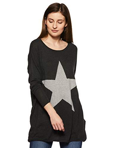 ONLY Damen Pullover onlREESE L/S KNT, Grau (Dark Grey Melange Detail:W. Lgm Star/Silver Studs) 36 (Herstellergröße: S)