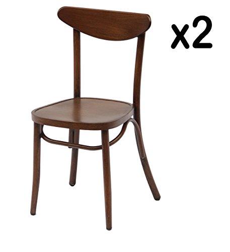 PEGANE Lot de 2 Chaises empilables en alu Coloris Chataigne 40 x 47 x 83 - A Usage Professionnel