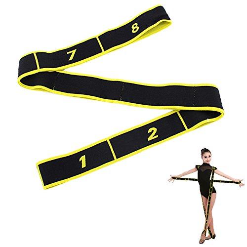Ueasy Fitnessband, hochwertiges Dehnungsband für verschiedene Sportarten wie Lateinamerikanischer Tanz, Fitnesstraining, Yoga, Turnen, 1 Stück, Schwarz / Gelb