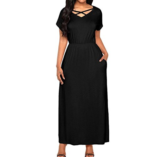 e Strand Sommer Sommerkleid Maxikleid Damen,Frauen Kurzarm Solid Boho Kleid High Waist Elastische Striped Sleeveless Beach Kleid Partykleid Elegant Von (Schwarz, M) (Mädchen In Schiere Kleidung)