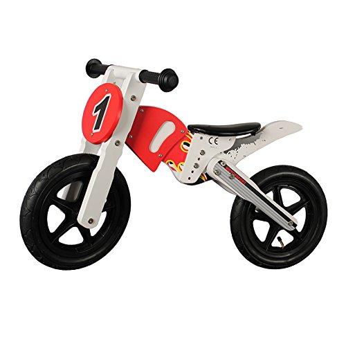 12 pollici bicicletta per bambini Moto senza pedali in legno rosso bianco