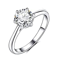 Olrla 6 Prongs 1.0ct Moissanite Solitaire Ring for lady, Lab Diamond Ring for Women, Platinum Plated Sterling Silver, US Size 7