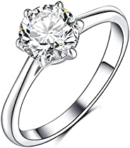 Olrla 1.0ct Round Cut D Color Moissanite Diamond Engagement Wedding Anniversary Ring for Ladies, Platinum Plat