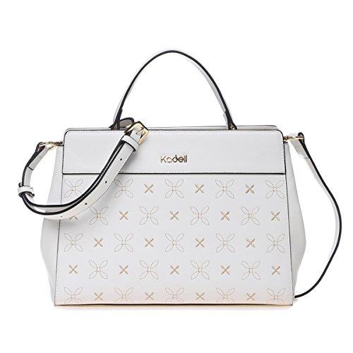 96fe17c6aaae1 ... Kadell Frauen Elegante PU-Leder Handtaschen Schulter tasche Stickerei  Blume Geldbörse für Damen Khaki Weiß ...