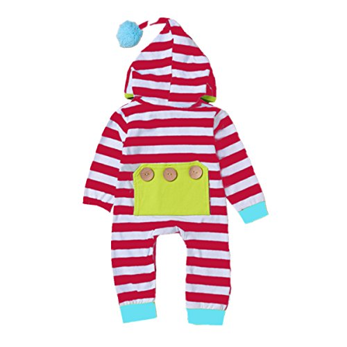 puseky Newborn Infant Baby Hoodie Striped Romper Jumpsuit Overall One-Piece