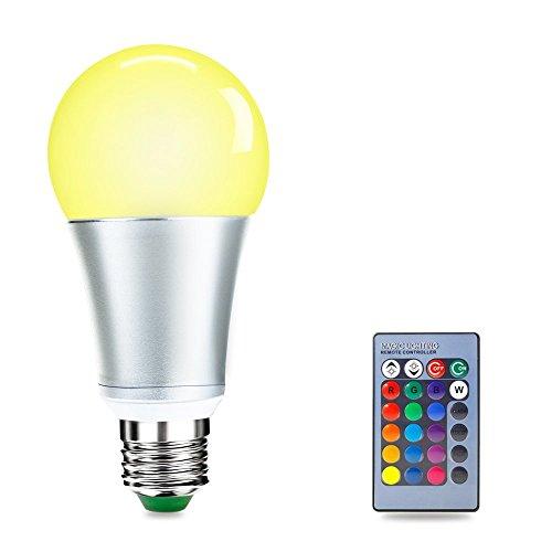 LUXJET 10W LED RGBW Lampe mit Fernbedienung,E27 LED Glühbirne,RGB+Weiß Beleuchtung Lampe für Raum, Party, Hochzeit dekoration (1er Pack)