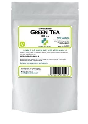 Green Tea 100 tablets 1000mg quality standardised extract (diet) from Lindens