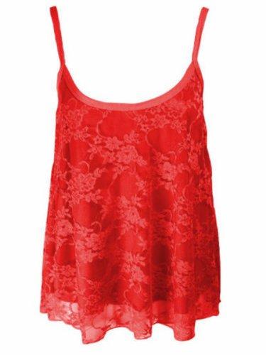 Nouvelles femmes Dip Hem Cami bretelles dentelle florale Crop Top 36-50 red