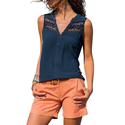 MRULIC Damen Chiffon T-Shirt Sommer Lässig V-Ausschnitt ärmellose Spitze Design Tank Tops Bluse -