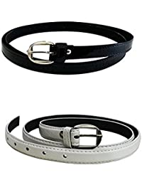 Devil Women's Combo Set Of 2 PU leather belts (Black & White)