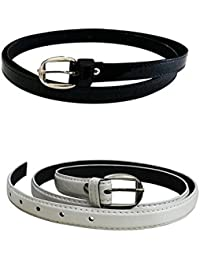 Krystle Women's Combo Set Of 2 PU leather belts (Black & White)