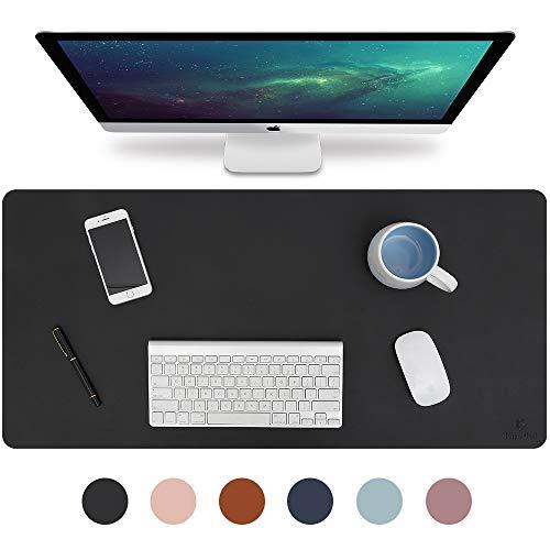 Knodel Tischunterlage, Schreibtischunterlage, 80cm x 40cm PU-Leder Tischunterlage, Laptop Tischunterlage, wasserdichte Schreibunterlage für Büro- oder Heimbereich, doppelseitig (Schwarz / Schwarz)