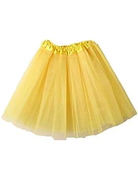 Faldas, Challeng Minifalda de encaje de organza con tutú y capas de ballet de mujer (amarillo)