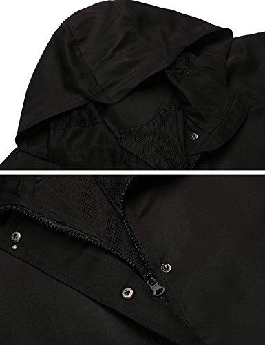 Coorun giacca di pioggia casuale del cappotto del manicotto lunga con cappuccio casuale delle nuove donne nero2