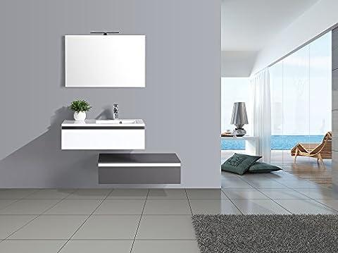 Coup de ❤ ! Meuble salle de bain simple vasque 2 tiroirs 90cm décalés gris et blanc laqué Aquamare