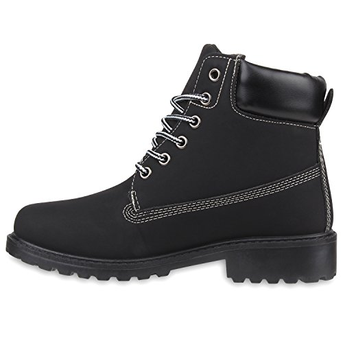 Damen Outdoor Worker Boots Camouflage Schuhe Schwarz QFbo0rGLk