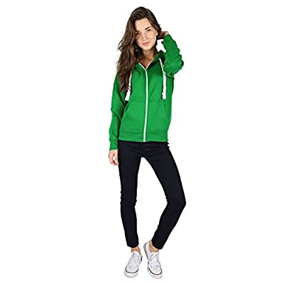 PARSA FASHIONS Ladies Plain Zip up Hoodie Womens Fleece Hooded Top Long Sleeves Front Pockets Soft Stretchable Comfortable Plus Sizes Small to XXXXXXXL (UK 6-30)
