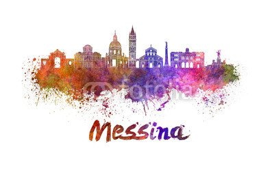 "Poster-Bild 140 x 90 cm: ""Messina skyline in watercolor"", Bild auf Poster"