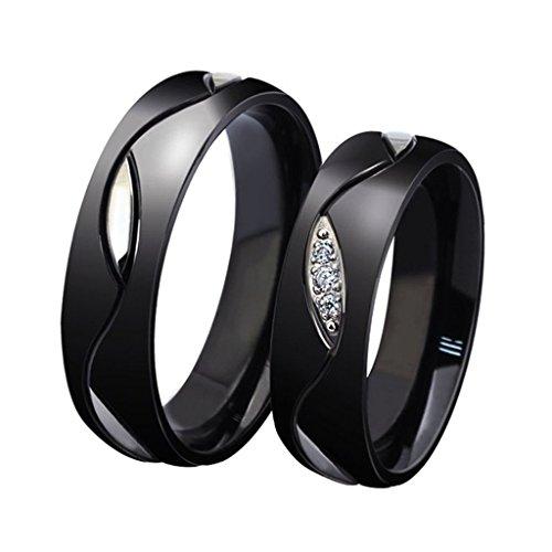 Anyeda Paar Ringe aus Edelstahl für Frauen Ring Mädchen Black Wave Cz, Breite 6 Mm Ringgröße 60 (19.1)
