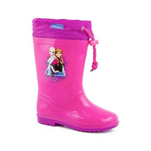 Bottes de pluie rose fille disney frozen bottine caoutchouc enfant la reine des neiges rose/violet