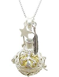 samaki - collar llamador de angeles pluma y estrella plata de ley 50 cm con aquamarina para mujer