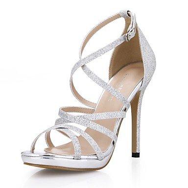 LvYuan Damen-Sandalen-Hochzeit Kleid Party & Festivität-Kunststoff-Stöckelabsatz-Komfort-Silber Gold Gold