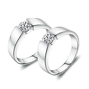 Anvi Jewellers Platinum Plated Splendiferous Couple Love Ring Bands for Men & Women