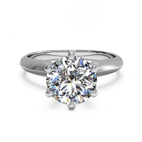 3 ct rund geschliffener Diamanten-Solitär-Verlobungsring Sterlingsilber Weißgold beschichtet, Größe -57(18.1) (Gefälschte Gold Modeschmuck)