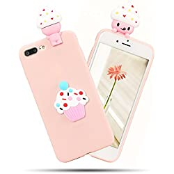 Funda iPhone 7 Plus / iPhone 8 Plus, iPhone 7 Plus Funda Silicona, SpiritSun Soft Carcasa Funda iPhone 7 Plus Kawaii 3D Diy Case Carcasa Goma Flexible Ultrafina TPU Bumper Shock- Absorción y Anti-arañazos Parachoques Protectora Carcasa para iPhone 7 Plus / iPhone 8 Plus (5.5 pulgadas) - Ice cream
