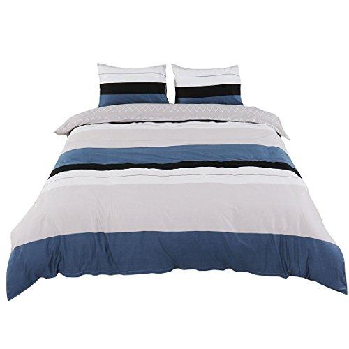 uxcell Bettbezug Set, 100% Baumwolle Bettbezug Bettwäsche für Jugendliche Erwachsene, Einfach Moderne Streifen Gitter Muster Gedruckt auf Grau Blau mit Reißverschluss King Size Blue Stripe Pattern