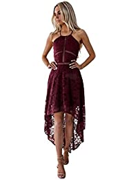 58ce75e1d8ae Vestito da Donna    Fami Womens Sling Lace Sleevelessc Irregular Prom Party  Dress Ball Gown