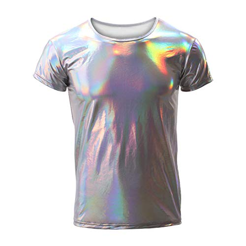 Herren Nachtclub Lackleder Metallic Kurzarm Shirts Shinny Slim 70er Disco Dance Tops Kostüm Party Clubwear,Silver,XL