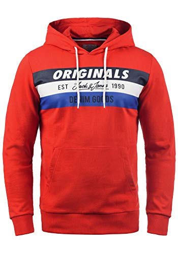 JACK & JONES Sacho Herren Kapuzenpullover Hoodie Pullover Mit Kapuze Und Print, Größe:M, Farbe:Fiery Red