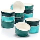 COM-FOUR® 12x stampi per soufflé - ciotole in ceramica creme brulee - stampi da forno - stampi per dessert e stampi da pasticceria per es. Pinna ragù - ogni 200 ml - in diverse tonalità di verde