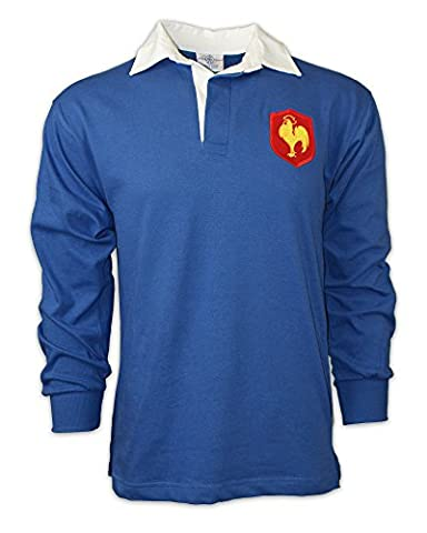 MEN'S vintage embroidered French crest LONG SLEEVE France rugby SHIRT with FREE PERSONALISATION from Print Me A Shirt in SMALL - ROYAL BLUE /