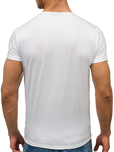 BOLF Herren T-Shirt Tee Kurzarm Classic V-Neck Rundhals Unifarben 3C3 Slim Fit Weiß_2006