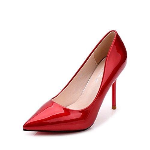 Damen Pumps Slip on Spitz Zehen Spiegelleder High-Heels Rutschhemmend Einfach Klassisch Elegant Hochzeit Abend Party Stiletto Rot