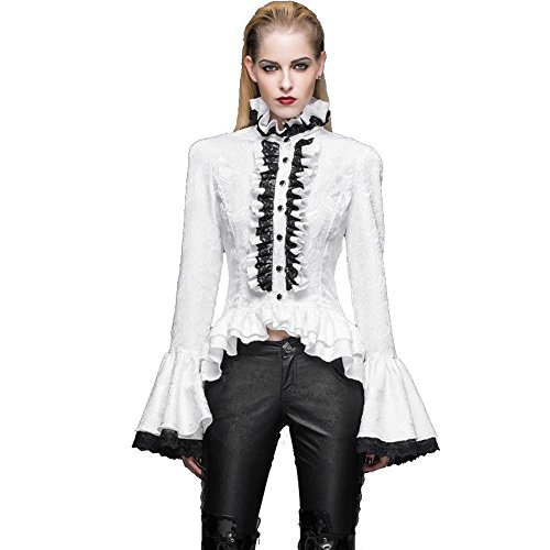 Devil Fashion Women's Gothic Steampunk Slim Fit Collar Shirt Lotus Leaf Sleeves Shirt Tops Blouse,S steampunk buy now online