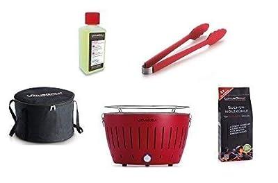 LotusGrill Starter-Set 1x Grill mit USB-Anschluß, 1x Buchenholzkohle 1kg, 1x Brennpaste 200ml, 1x Würstchenzange Feuerrot, 1x Transport-Tragetasche - der raucharme Holzkohlegrill