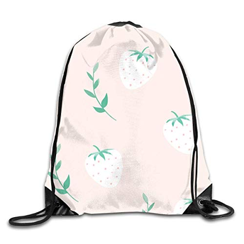 (FAFANIQ Pink Strawberry Tree Leaves Pattern Drawstring Bag for Traveling Or Shopping Casual Daypacks School Bags)